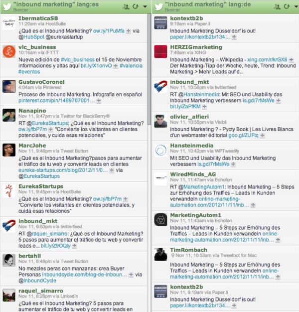 hootsuite twitter filtrar por idioma