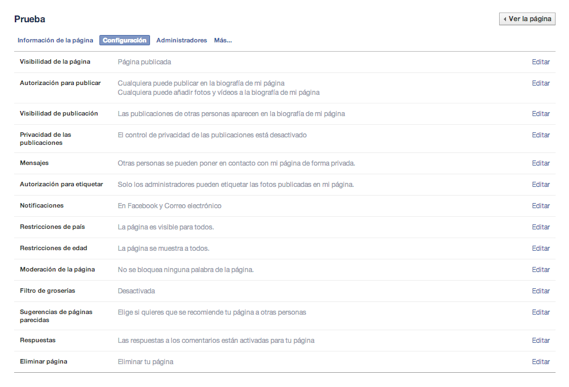 configurar permisos pagina facebook