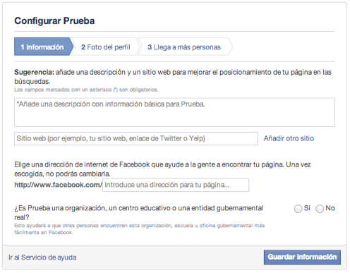configurar pagina de facebook