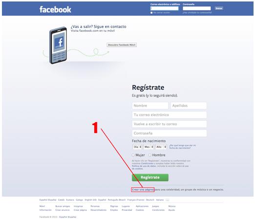 crear pagina de facebook