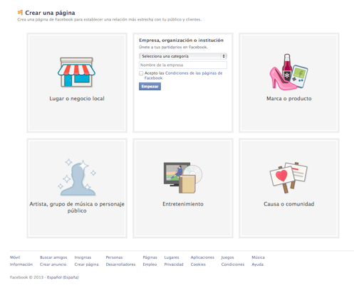 subcategorias pagina de facebook