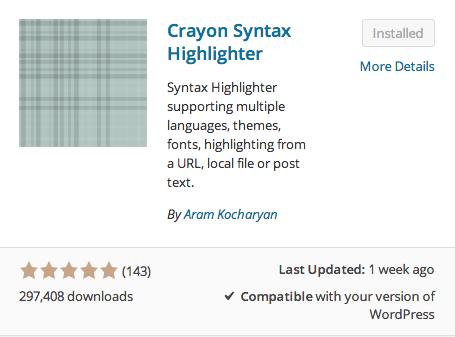 Crayon Syntax Highlighter plugin