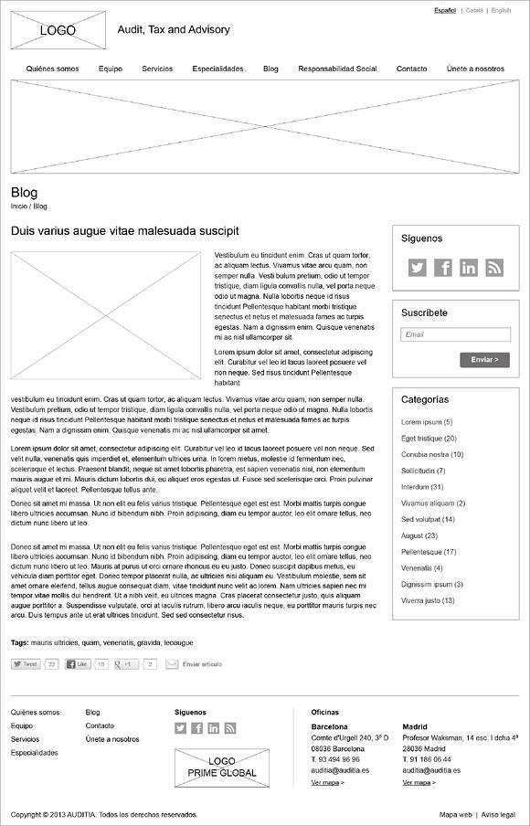 blog wireframe