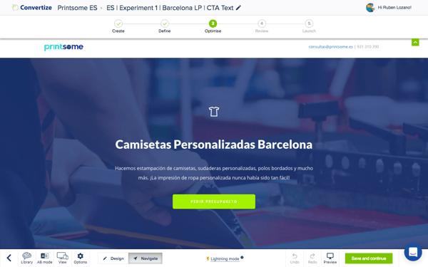 #3 Convertize Barcelona Landing Page Pedir presupuesto