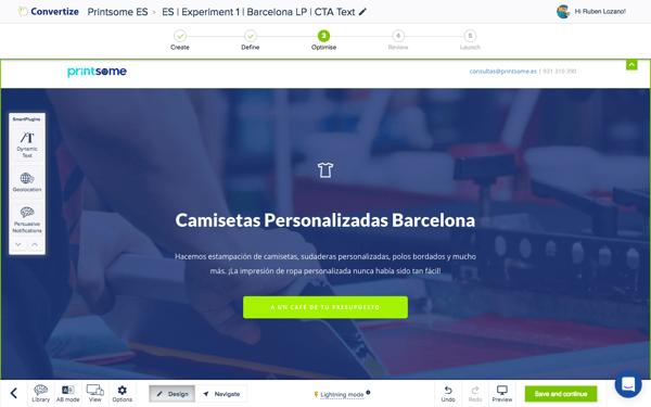#4 Convertize Barcelona Landing Page A un café de tu presupuesto