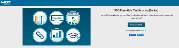 7. SEO Essentials Certification de Moz