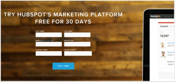 hubspot inbound marketing landing page