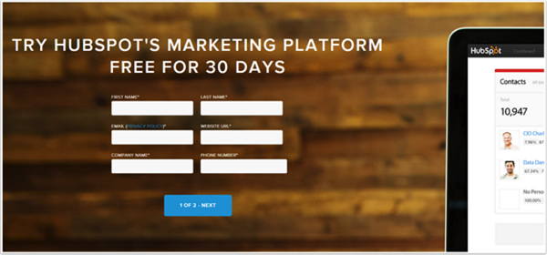 hubspot inbound marketing landing page