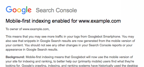 Mobile First Index Search Console