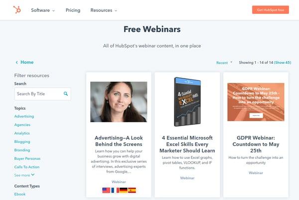 acciones comerciales webinars