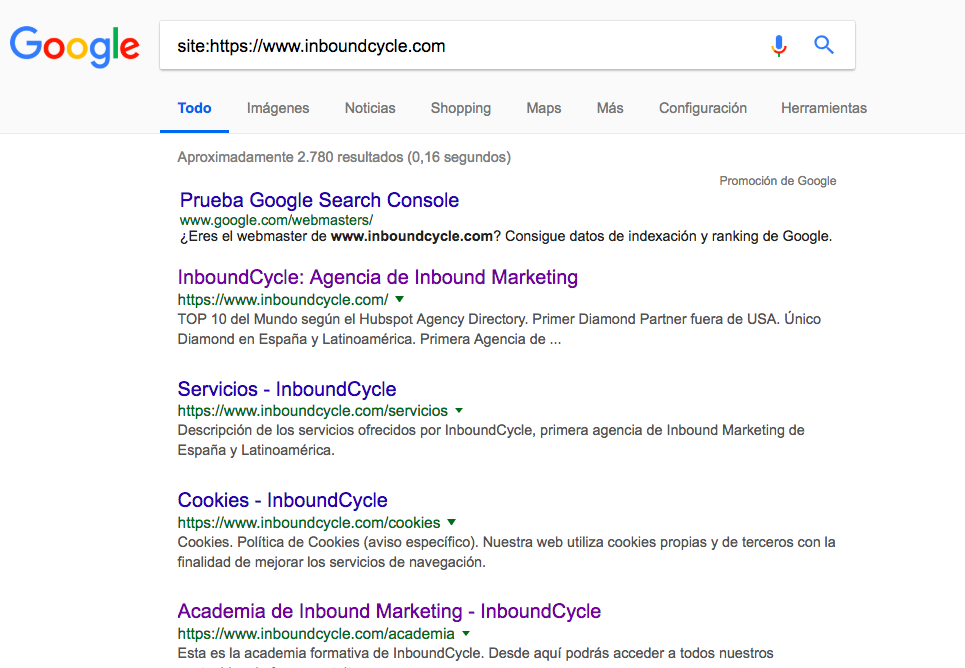 comprobar paginas indexadas google