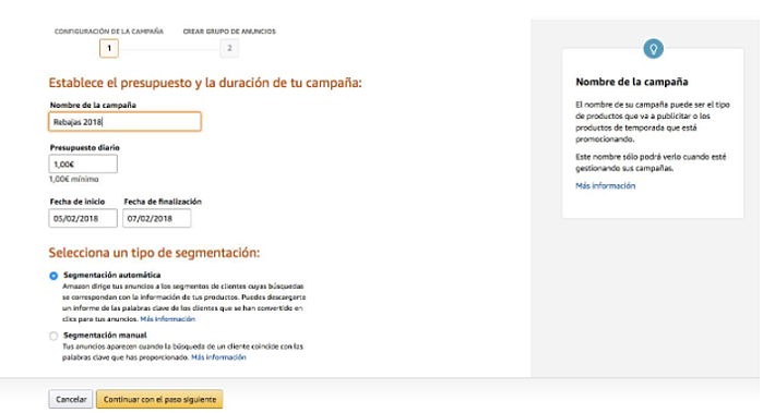 creacion campana ppc amazon