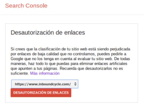 desautorizar enlaces google search console