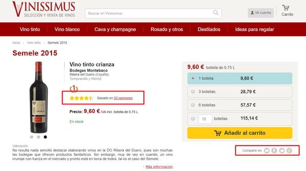 ejemplo social rating en la web vinissimus