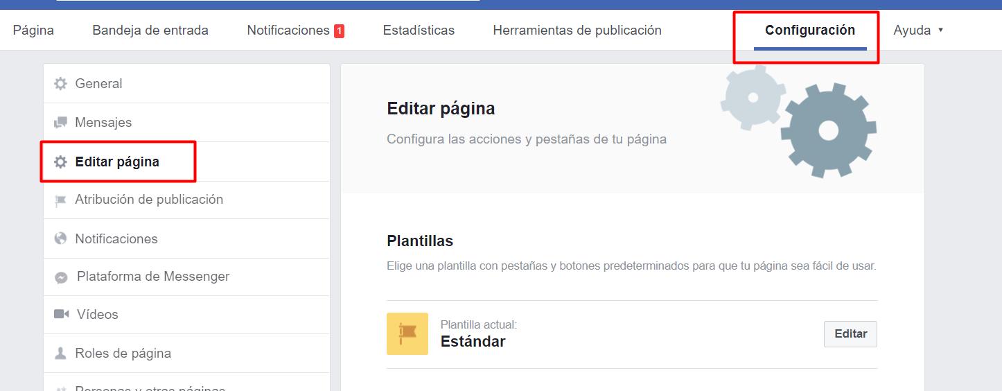 configurar tienda pagina facebook
