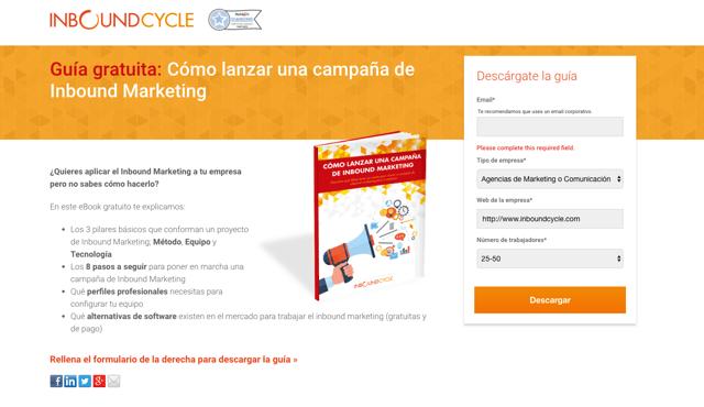 ejemplo landing page inboundcycle