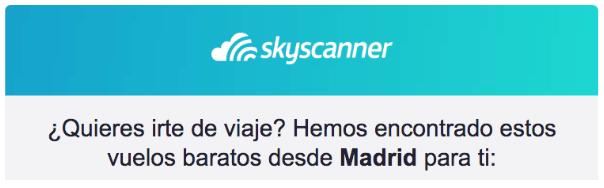 ejemplo encabezado email skyscanner