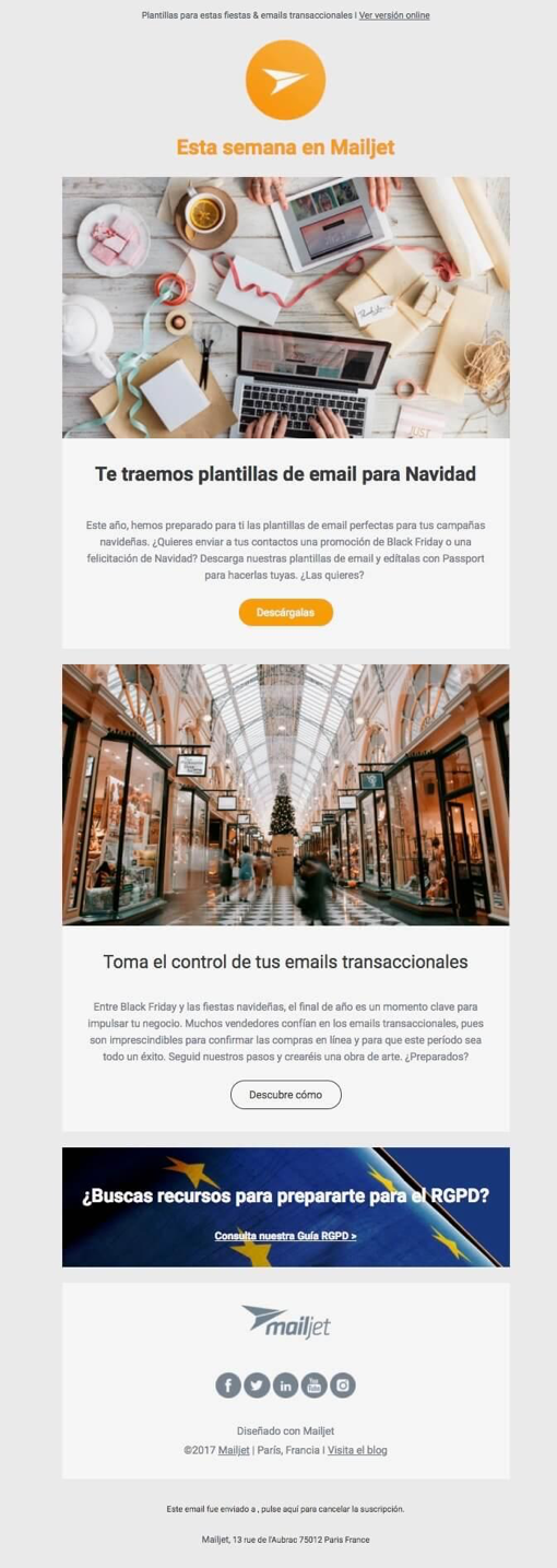 ejemplo newsletter mailjet
