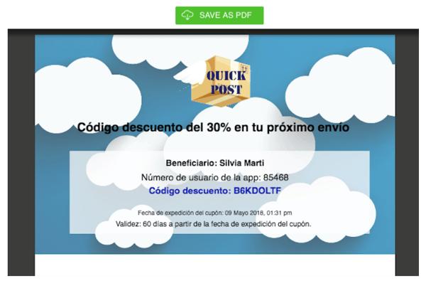 ejemplo personalización cupón online