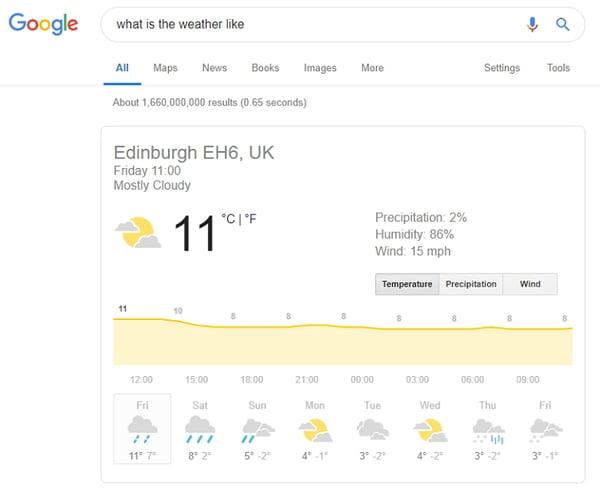 el tiempo Google