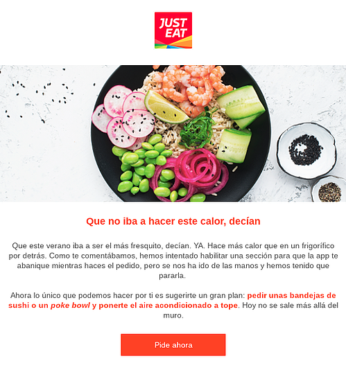 personalizacion contenido email just eat