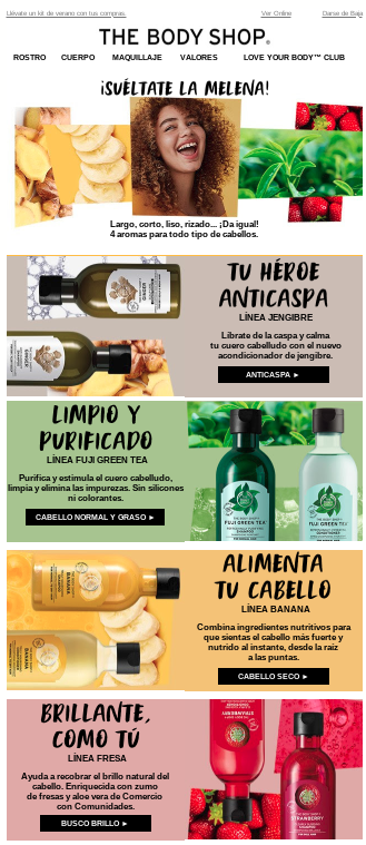 uso colores emails the body shop