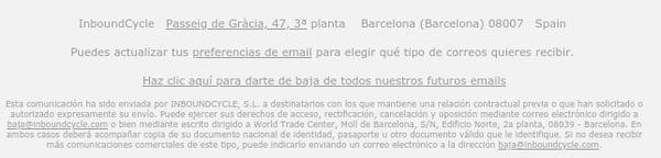 footer email desuscripcion