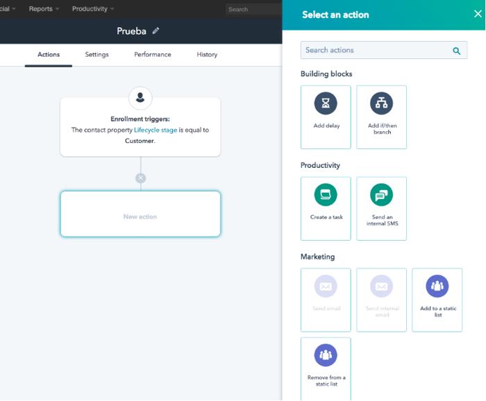 seleccionar accion workflow hubspot