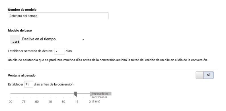configuracion modelo atribucion deterioro del tiempo