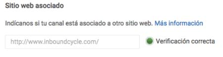 añadir web canal youtube