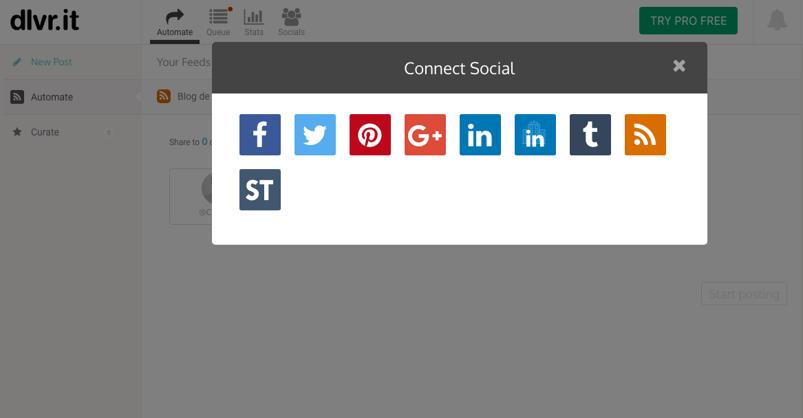 automatizar redes sociales con dlvr.it