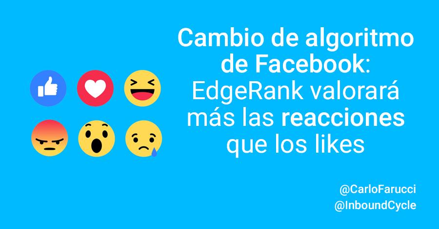 cambio algoritmo facebook reacciones