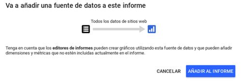 añadir fuente datos data studio