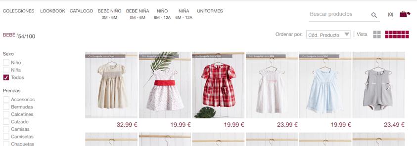 ejemplos usabilidad tienda online ropa bebe