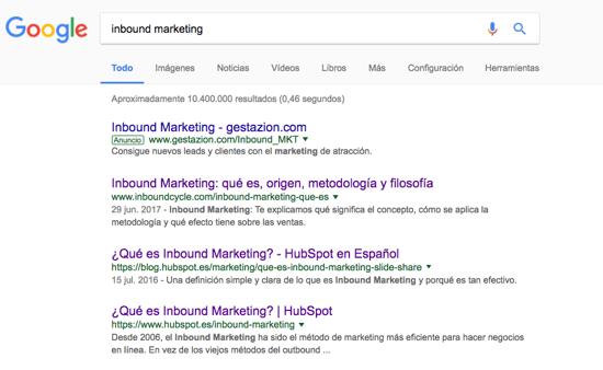 posicionamiento keyword inbound marketing google