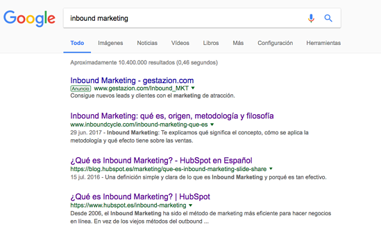 posicionamiento keyword inbound marketing google