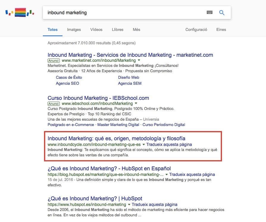 resultados contenido pilar inbound marketing posicionamiento google