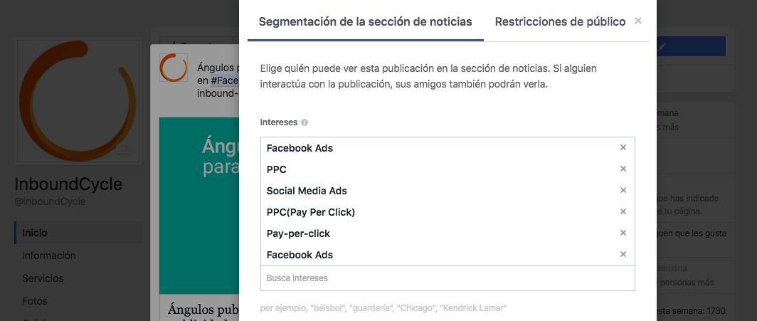 segmentacion organica por intereses en facebook