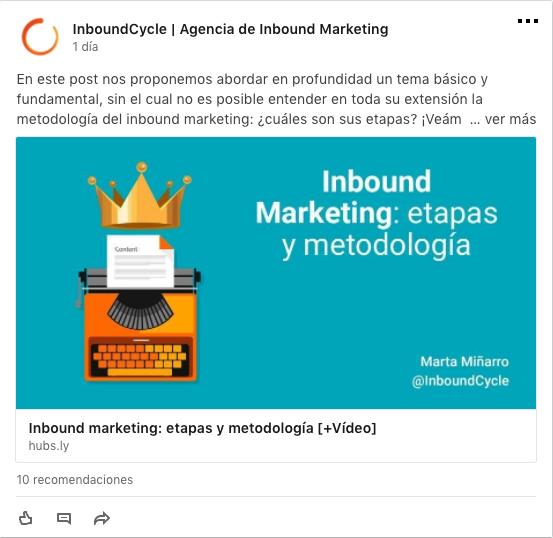 ejemplo publicacion linkedin inboundcycle