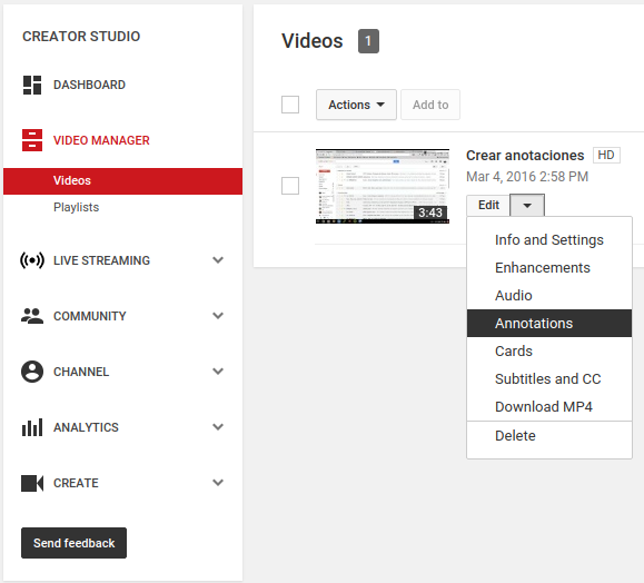 video manager youtube