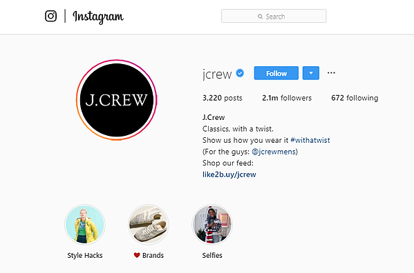 Estrategia de Marketing visual-JCrew Instagram