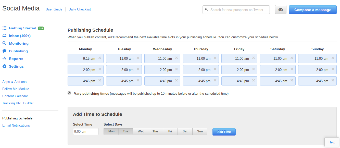 Hubspot publishing schedule