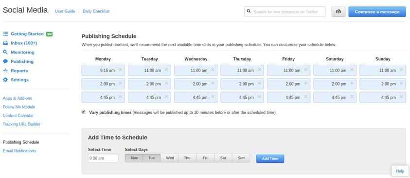 Hubspot publishing schedule