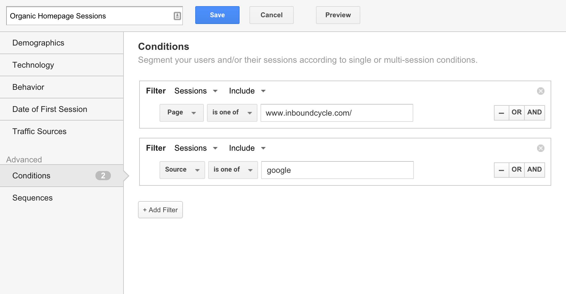Segmentos condicionales en Google Analytics