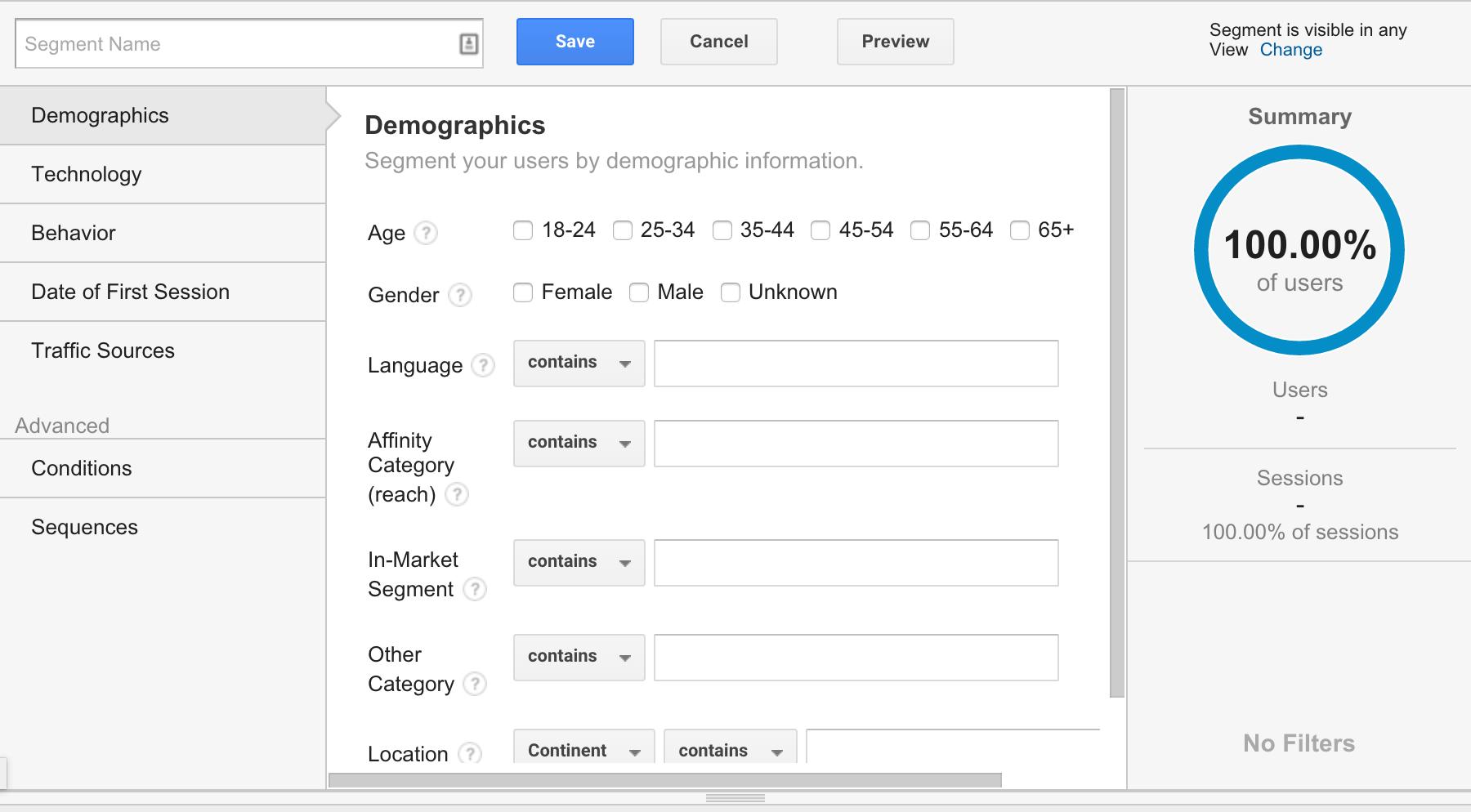 Como crear un segmento personalizado en Google Analytics