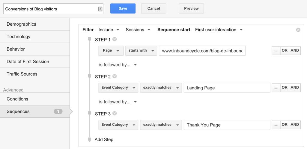 Segmentos Secuencia en Google Analytics