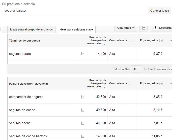 keyword planner google