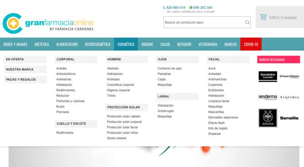 estructura web division del contenido en categorias