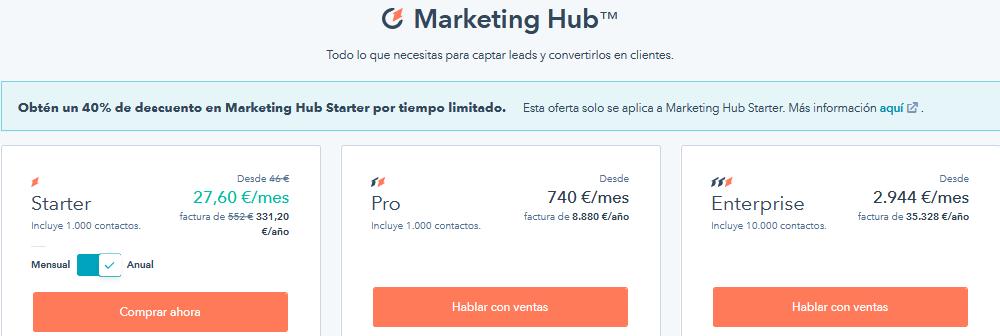 HubSpot precios pricing-1