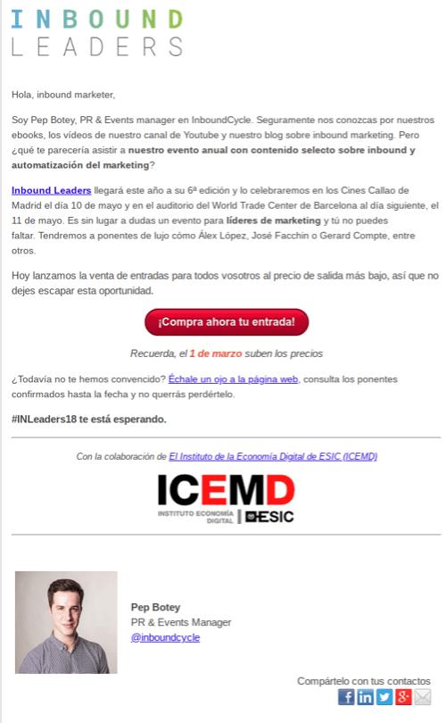ejemplo email CTA inbound leaders